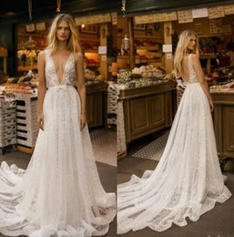 Plunge Wedding Dresses UK - Gali Karten 2019 New A Line Wedding Dresses Plunging V Neck Lace Bridal Gowns Appliqued Sexy Backless Beach Boho Wedding Dress Plus Size P26