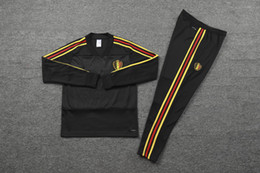 Spain long Sleeve jerSey online shopping - 2018 World Cup Training suit adult kits Belgium tracksuit long sleeve spain training suit LUKAKU HAZARD Soccer jersey jacket Football shirt