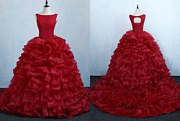 $enCountryForm.capitalKeyWord Australia - Red Ruffles Organza Lace Modern Quinceanera Prom Dresses 2019 Cheap Ball Gown jewel Neck Keyhole Back Sweet 16 Dress Vestidos 15 Anos