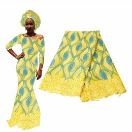 Discount nigerian weaves - African Lace Fabric High Quality Nigerian Lace Fabrics Head Gele Embroidery French Lace For Wedding Dress Aso Oke Headti