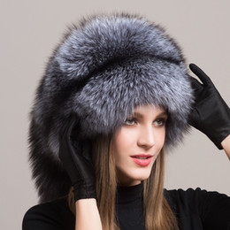$enCountryForm.capitalKeyWord Australia - Winter Women Fur Cap Real genuine natural Fox Fur Hats Headgear Russian Outdoor Girls Beanies Cap ladies warm fashion cap D19011503