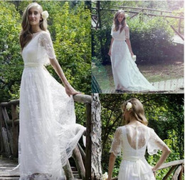Empire Style Wedding Gowns Australia - Country Style A Line Scoop White Lace Wedding Dresses Floor Length Lace Short Sleeve Sheer Back Formal Bridal Wedding Gowns
