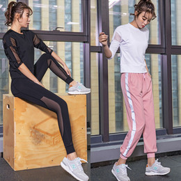 $enCountryForm.capitalKeyWord NZ - 2019 New Sexy Sports Tops Gym Women Fitness T Shirt Woman Black White 3 4 Sleeve Yoga Top Mesh Womens Gym Tops Sport Wear Women