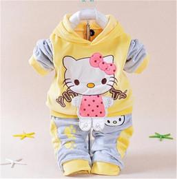 $enCountryForm.capitalKeyWord NZ - Cartoon Kitty Newborn Boy Brand Velvet Hoodie and Pants Twinset Baby Girls Clothing Sets Autumn Spring Kids Infant Suit Sweatshirt