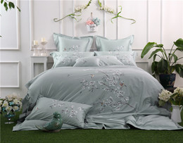Luxury grey bedding online shopping - 100 Cotton Oriental Embroidery Luxury Bedding set Queen King Size Grey Colo Floral Bed set Duvet cover Bed sheet Pillowcase