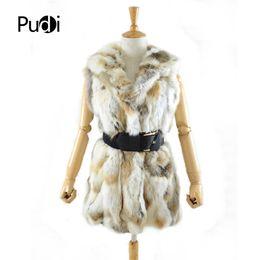 Wholesale ship real fur jackets resale online - VR020 real rex fur vest with hooded women s slim rex fur coat winter jacket