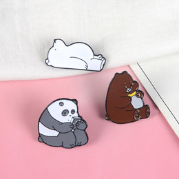 wholesale indian bags UK - Polar Bear Cartoon Enamel pins Lapel pins Badges Brooches for men women Kids Backpack Hat Bag Accessories Gift