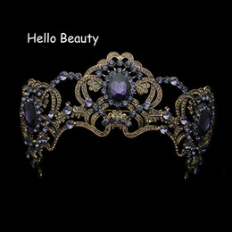 Large Baroque Vintage Purple Crystal Wedding Crown Rhinestone Bridal Queen  Tiara For Bride Prom Pageant Party Hair Accessories C18122501 17329fd21b27