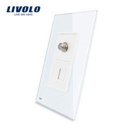 Standard Power Socket Australia - Livolo US Standard Wall Plug Power , Satellite TV +Telephone Power Light electrical Socket , With Tempered Glass