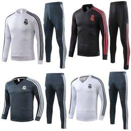 Skinny training pantS men online shopping - Real Madrid tracksuit men s soccer chandal football tracksuit training suit skinny pants Sports wear
