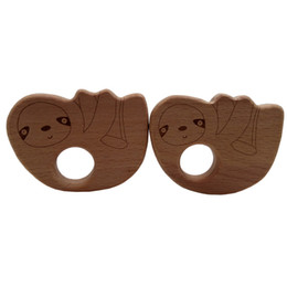 Cartoon Nature UK - 4pcs Wooden Bear2 Teethers Nature Baby Teething Toy Organic Eco-friendly Wooden Teething Holder Nursing Baby Teether DIY Accessory