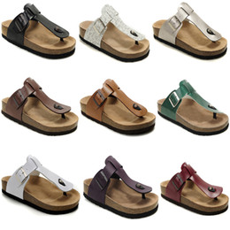 Discount sandals slipper designing - Genuine Leather Slippers Mens Flat Sandals Women Shoes one Buckle Fashion design Arizona Summer Beach Top Quality With O