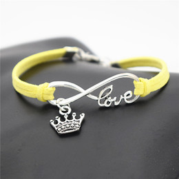 China Hot Selling Antique Silver Braided Purple Leather Rope Infinity Love Elegant King Crown Bracelets & Bangles Charm Fashion Women Men Jewelry suppliers