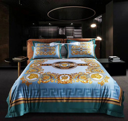 king size bedding sets gold Canada - Best Quailty Luxury Design Print Brand BLUE king queen size Quilts Blue Gold Brand Wedding bedding sets For Home Hotel