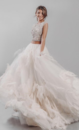 $enCountryForm.capitalKeyWord Australia - New arrival 2019 Luxurious Feather Wedding Dress sexy transparent top Bridal gown custom made skirt with flowers and feathers a line wedding