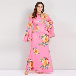 $enCountryForm.capitalKeyWord NZ - Misshow Spring Summer Floral Print Plus Size Mermaid Women Long Dress 5XL Flare Sleeve Pink Bodycon Maxi Dress Robe Longue Femme FS7092