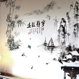 Boat Wall Stickers Australia - [SHIJUEHEZI] Mountains Boats Bamboo Wall Stickers Decoration Chinese Style Vinyl DIY Mural Decals for Living Room Home Decor D19010902