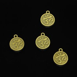 $enCountryForm.capitalKeyWord Australia - 67pcs Antique Bronze Plated double sided yoga om Charms Pendants fit Making Bracelet Necklace Jewelry Findings Jewelry Diy Craft 15mm