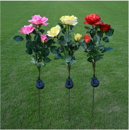 wholesale roses plants Australia - Three Solar Rose Lanterns with LED Ground Insertion Simulated Flower Lanterns Garden Courtyard Decorative Lantern Lawn Lantern