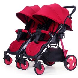 China Twin Baby Trolley Can Be Split Double Twins Baby Stroller 2 In 1 Umbrella Multiple Stroller Can Sit Flat Lying Travel Pram cheap stroller twins suppliers