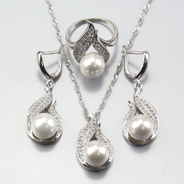 jewelry marked 925 Canada - 11.11 Hot Selling White Natural Pearl Silver 925 Mark Jewelry Sets Earrings Pendant Necklace Ring For Women Wedding Costume Sets