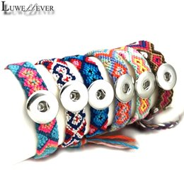 Wholesale Hot Adjustable Ethnic National Style Bracelet Fashion mm mm Snap Button Fabric Bangle Charm Jewelry For Women Gift