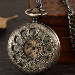 hollow man glasses UK - Bronze Hollow Vintage Mechanical Pocket Watch Men Skeleton Carving Steampunk Fob Hand Watch With Chain Necklace Women Men Gift T200502