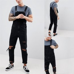 $enCountryForm.capitalKeyWord NZ - Jeans Men 2019 New Men's Sling Denim Jumpsuit torn Holes Black trousers Large size Men's Overalls Size S-XXL