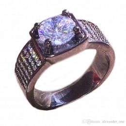$enCountryForm.capitalKeyWord NZ - Fashion Simple Gemstone Simulated Diamond Zircon Cocktail Jewelry 10KT Black Gold Filled Wedding Band Rings for Mens SZ 7,8,9,10,11,12,13