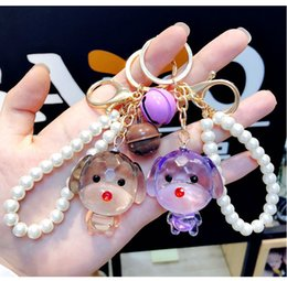 Crystals Souvenir Australia - Free DHL 6 Styles Unique Animal Dog Keychain Cute Keyring Acrylic Charms Crystal Keychains Women Jewelry Bag Pendant Souvenir Gifts G788R F