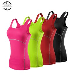 girls sports tight pants 2019 - Hot Girls Skinny Vest Sportswear Compression Fitness Tights Gym Yoga Shirt Run Sports Suit Women Bodybuilding Crop Tank