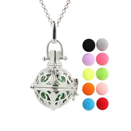 hollow flower pendant NZ - Silver Plated Hollow Flower Essential Oil Diffuser Locket Angel Bola Mexico Chime Ball Pendant for Pregnant Women