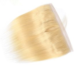Free shipping brazilian virgin hair online shopping - 13x4 Lace Frontal Closure A Blonde Color Silky Straight Malaysian Virgin Human Hair Ear to Ear Lace Frontal for Woman