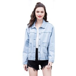 948cf17cab0 2019 womens spring jeans jackets new personality denim jacket light blue  coats large pocket tops long sleeve tops casual clothing