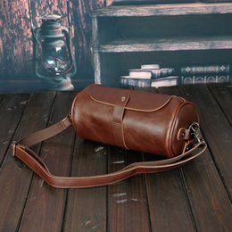 Mens Large Leather Travel Bags Australia - Mens Gym Travel Leather Bag Vintage Pu Leather Weekend Bag Hand Luggage For Men Large Capacity Portable Male Shoulder Bags