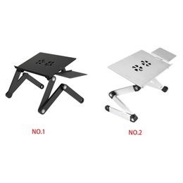 Fan For computer online shopping - Laptop Stand Aluminium Alloy Adjustable Folding Computer Notebook Stand Holder Cooling Fans Mouse Plate For Sofa Bed car