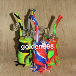 Silicone Barrel Bong NZ - Portable Hookah Silicone Barrel Rigs for Smoking Dry Herb Unbreakable Water Percolator Bong Smoking Oil Concentrate Pipe+quartz nails
