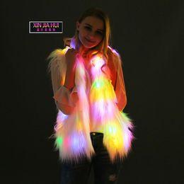 $enCountryForm.capitalKeyWord Australia - European Cosplay Even Hat Vest Animal Hair Imitate Leather And Loose Coat LED Light Nightclub Masquerade's Glowing Fake Fur