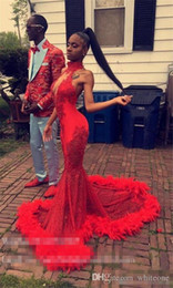 $enCountryForm.capitalKeyWord Australia - Sexy Red Feather Mermaid 2K17 Prom Dresses 2019 Backless Halter Vintage Lace Plus Size Black Girls African Arabic Formal Evening Party Gowns