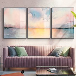 Romantic bedRoom wall aRt online shopping - Abstract Romantic Pink seaside Canvas Painting Nordic Poster Print Girlish Wall Art Pictures for Living Room Bedroom Modern Home