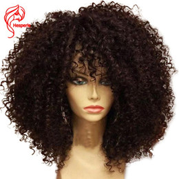 short curly human hair lace wigs Canada - Hesperis Afro Kinky Curly Human Hair Wigs Pre Plucked 130% Brazilian Remy 13x6 Short Lace Front Wigs WIth Baby Hair For Women
