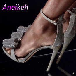 $enCountryForm.capitalKeyWord NZ - Aneikeh 2019 Summer Rhinestone Sandals Silvery Butterfly-knot Women Fashion High Heels Ankle Buckles Ladies Sandals Party Shoes Y190704