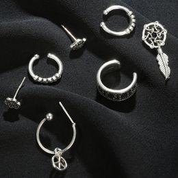 $enCountryForm.capitalKeyWord Australia - New Fashion Simple Bohemian Retro Multi Piece Earrings Airplane Leaf Sun Flower Set Combination Seven Piece Set Earrings
