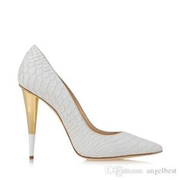 eva dress patterns UK - White Fish Pattern Leather Spike Heels Women Pumps Famous Brand Designer Prom Party Dress Shoes For Wedding Bride Shoes Woman Big Size 42