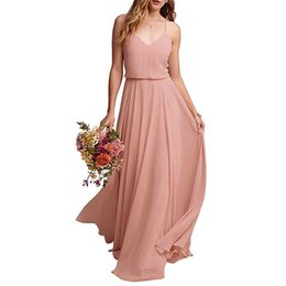 Cheap Plus Size Wedding Dresses UK - Cheap Country Bridesmaids Dresses 2019 Plus Size Straps Beach Wedding Party Dress Maid of Honors Wear