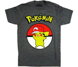 L Hats Australia - Shirt, Men's Pikachu Trainer Hat Shirt, Heather Charcoal Grey,S-L