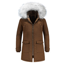 Thick Winter Parka Australia - Winter Jacket Men Casual Hooded Fur Collar Mid-long Parka Men Thick Warm Windbreaker Winter Coat Outerwear Parkas Hombre