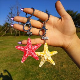 best friends jewellery Australia - Cute Best Friends Big Starfish Key Chain Ring for Women Silver Color Bff Keychain Bag Pendant Llaveros Girlfriend Gift Jewellery