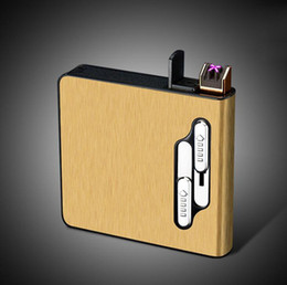 big storage boxes Australia - Newest Colorful Rechargeable Cigarette USB Lighter Case Storage Box Portable Holder Multifunction ARC High Quality Big Smoking Cartridge DHL
