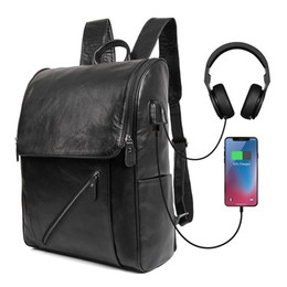 college bags for girls laptop 2019 - Fashion USB Charging Laptop Backpack Cow Leather Anti Theft Women Men School Bags For Teenage Girls College Travel Backp